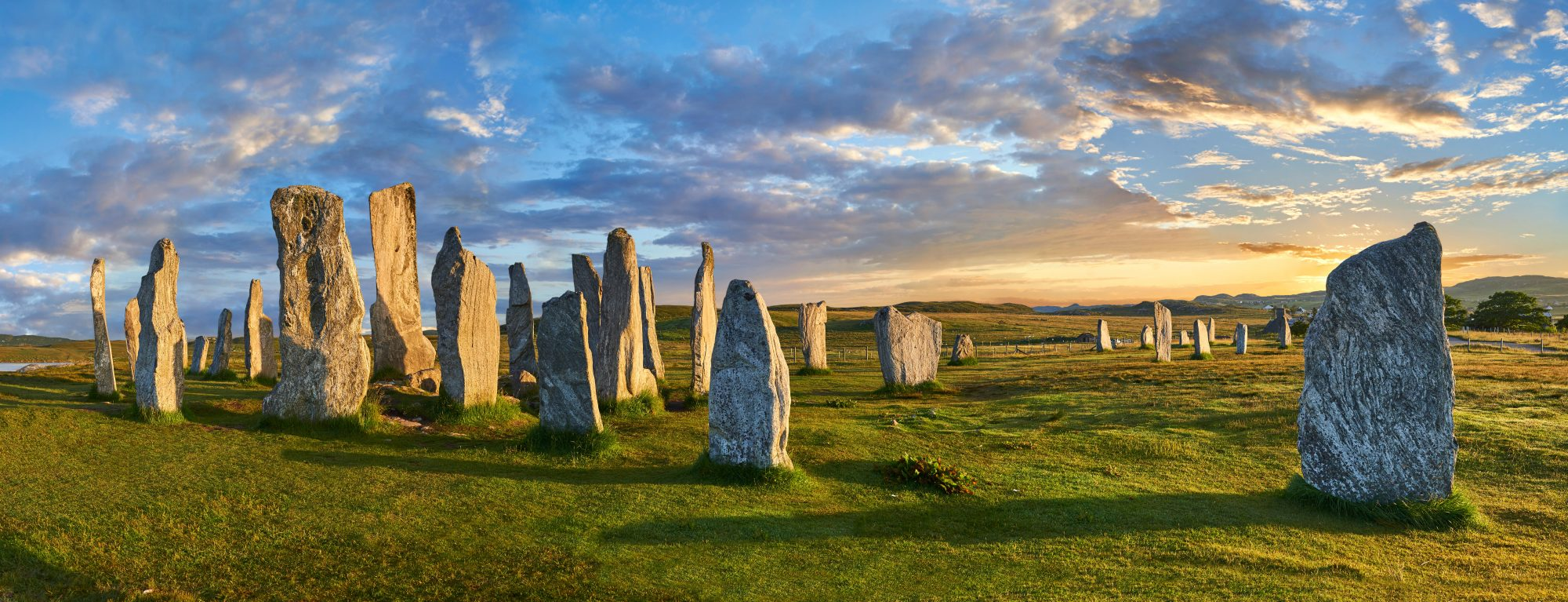 Panorama Of Calanais Standing Stones Central Stone Circle Erected Between 2900 2600bc, Scotland